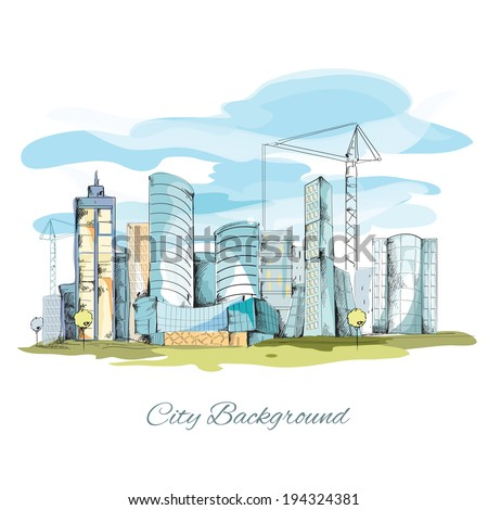 Modern urban sketch city background with building cityscape vector illustration - stock vector