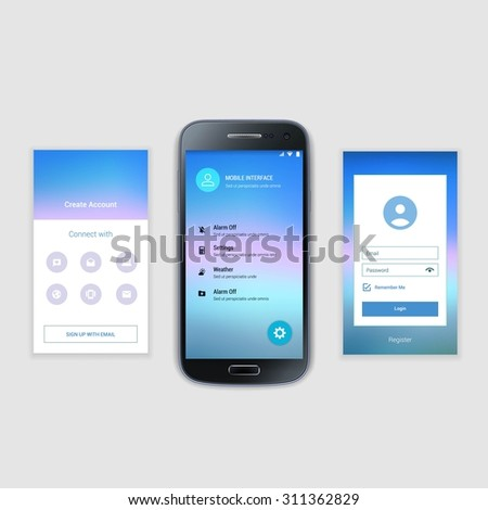 Modern user interface UX, UI screen template for mobile smart phone or responsive web site. Mobile Screens User Interface Kit.  Mobile application interface concept. User interface elements. - stock vector