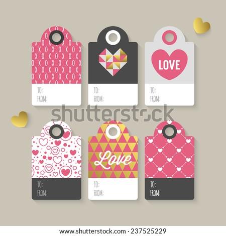 Modern Valentine's day gift tag stylish design - stock vector