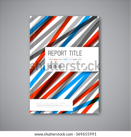 Modern Vector abstract brochure / book / flyer design template - light  blue and red version - stock vector