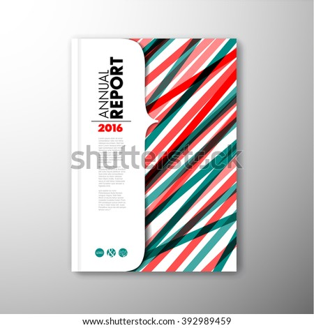 Modern Vector abstract brochure / book / flyer design template - teal and red version - stock vector