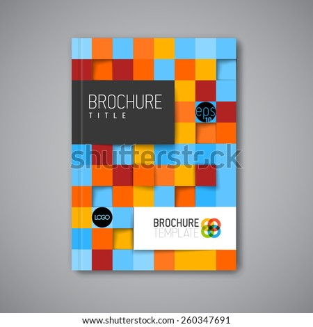 Modern Vector abstract brochure / book / flyer design template with mosaic - stock vector