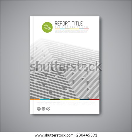 Modern Vector abstract brochure, report or flyer design template with maze / labyrinth - stock vector