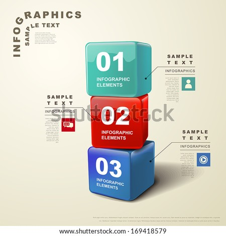 modern vector abstract 3d cube infographic elements - stock vector