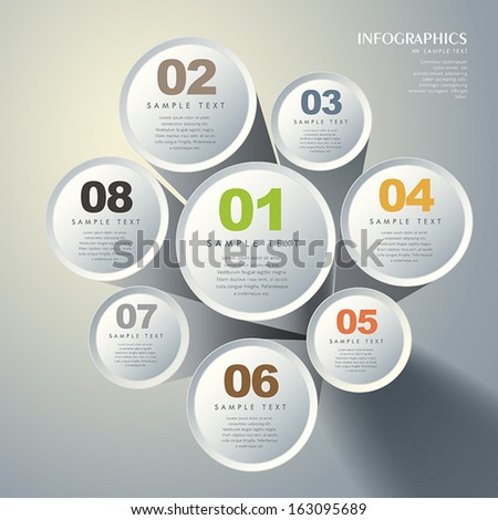 modern vector abstract 3d cylinder infographic elements - stock vector