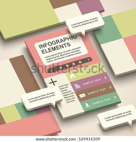 modern vector abstract 3d interface infographic elements - stock vector
