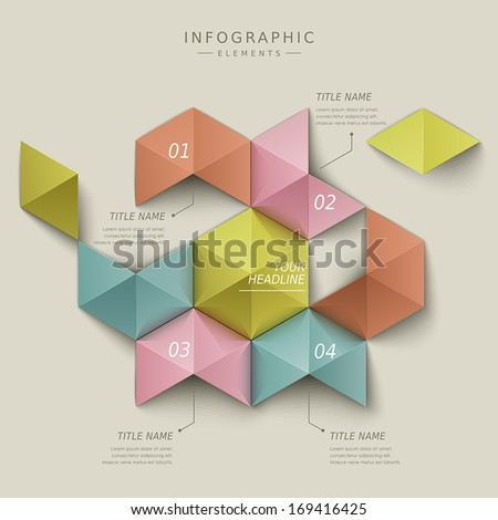 modern vector abstract hexagon infographic elements - stock vector