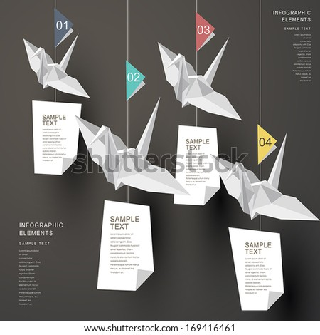 modern vector abstract origami paper cranes infographic elements - stock vector