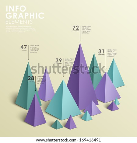 modern vector abstract pyramid chart infographic elements - stock vector