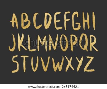 Modern vector alphabet gold foil font stock photo photo vector modern vector alphabet gold foil font on black background letters of the alphabet written altavistaventures Image collections