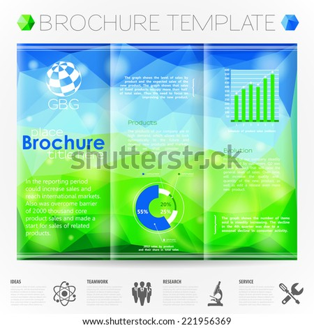 Modern Vector Brochure Design Template with Triangle Pattern and Bokeh Effect Background, Collect Icons and Graphs.