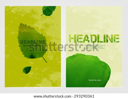 Modern vector brochure, report or flyer design template. Eco-friendly, ecology and organic graphic concept. A4 colorful watercolour hand drawn designs.  Letter covers artistic templates Collection.