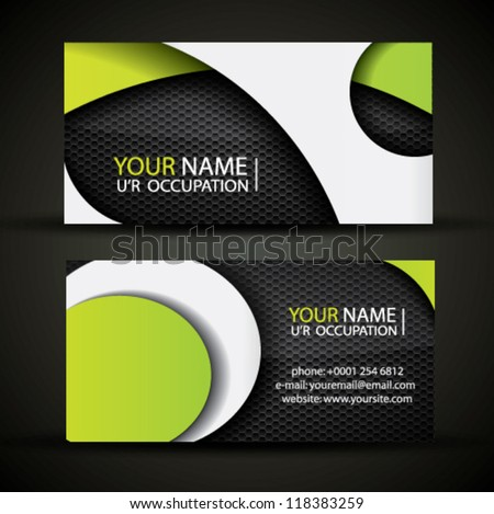Modern vector business card - green, white and black colors - stock vector