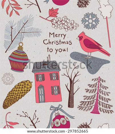 Modern vector Christmas card with winter berries, trees and bird