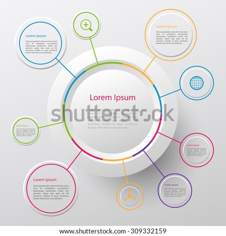Modern vector circle infographic elements in bright colors - stock vector