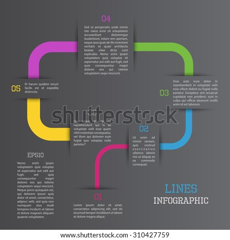 Modern vector colorful lines infographic on black background - stock vector