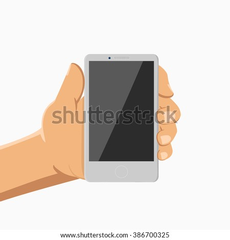 Modern vector colour illustration smartphone in hand. concept of communication