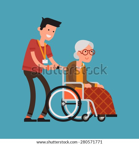 Modern vector design on senior woman in wheelchair with careful man | Young volunteer man caring for elderly woman | Adult man helping and supporting old aged female - stock vector
