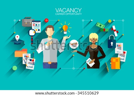Modern vector design recruiting employees, job interview flat illustration concept. For website or infographics of business people career opportunity, human resource hiring best candidate.  - stock vector