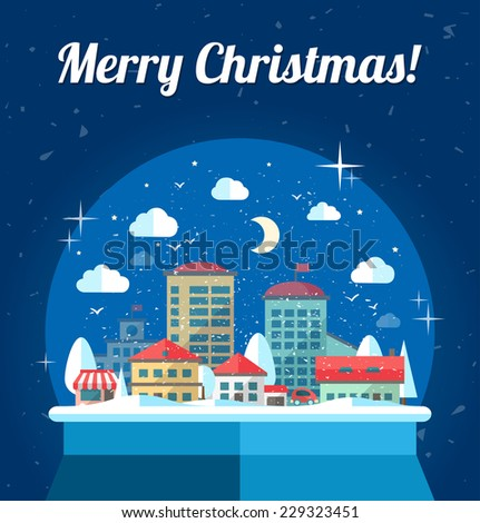 Modern vector flat design conceptual Christmas illustration with snow globe - stock vector