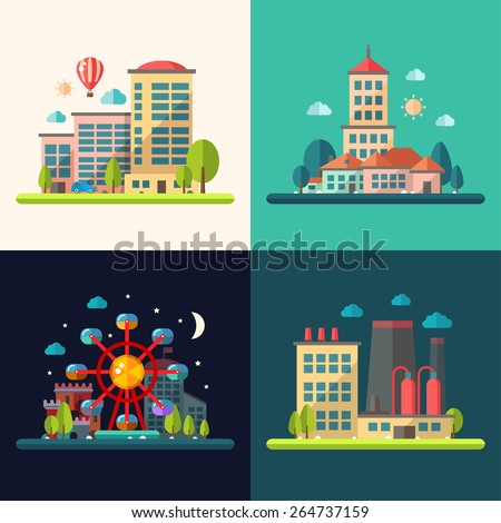 Modern vector flat design conceptual city illustrations - stock vector