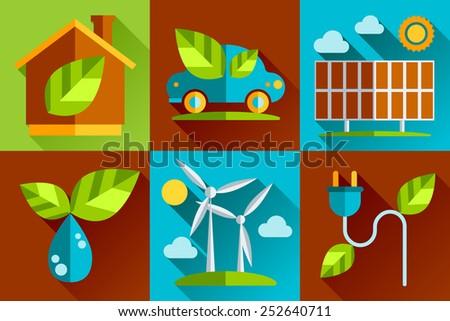 Modern vector flat design conceptual ecological icons set - stock vector