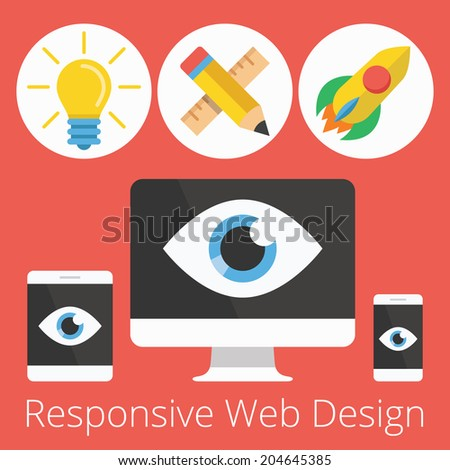 Modern Vector Flat Design Illustration for Responsive Web Design .Responsive Web Design Development Steps from Idea to Launching Project.  Icons and Symbols. Isolated on Stylish Red Background. - stock vector