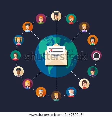 Modern vector flat design illustration of people social network community - stock vector