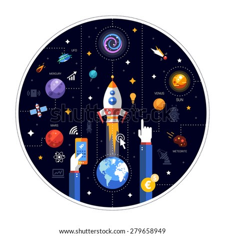 Modern vector flat design illustration of space rocket launch - stock vector