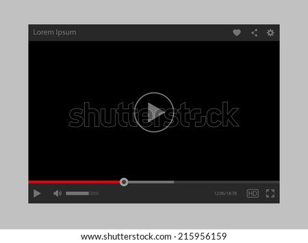 Modern vector flat video player interface - stock vector