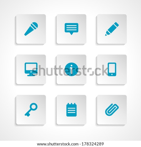 Modern vector icons set bend paper effect. Vector design elements for web and mobile design.  - stock vector