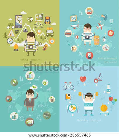 Modern vector illustration icons set in flat style of traveling, planning vacation, natural resources, ecology, healthy lifestyle. - stock vector