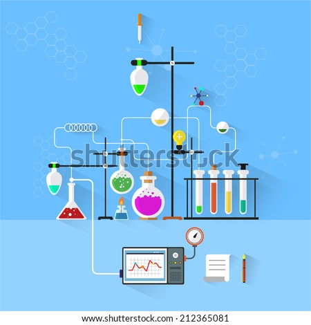 Modern vector illustration icons set of science.Laboratory workspace and workplace concept. Chemistry, physics, biology. Isolated on stylish background.Chemistry infographic. Flat design. - stock vector