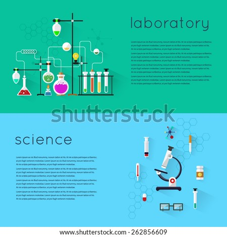 Modern vector illustration icons set of science. Laboratory workspace and workplace concept. Chemistry, physics, biology. 2 banners with place for text and a set of icons. Flat design. - stock vector