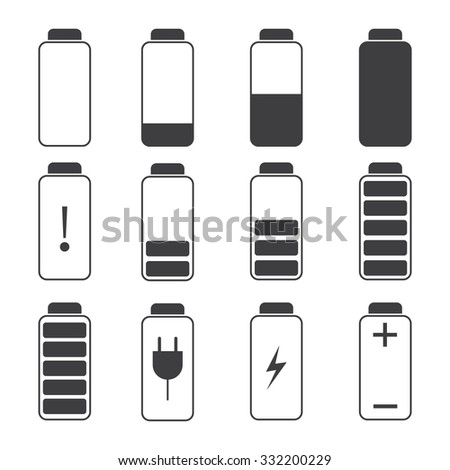 Modern vector illustration of a battery charging symbols. Battery charge. - stock vector