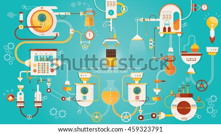 Modern vector illustration of chocolate factory.