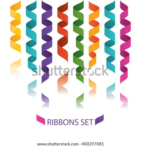 Modern vector illustration of colorful flat ribbons, confetti decoration for carnival party, birthday party - stock vector