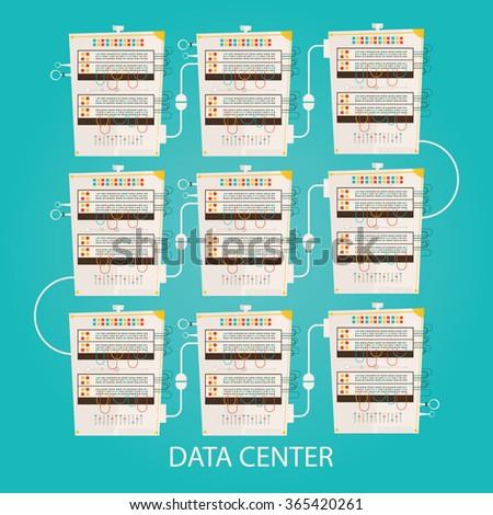 Modern vector illustration of Data center with hosting servers, cloud technologies - stock vector
