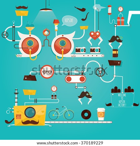 Modern vector illustration of hipster factory, hipster item, industry of hipster