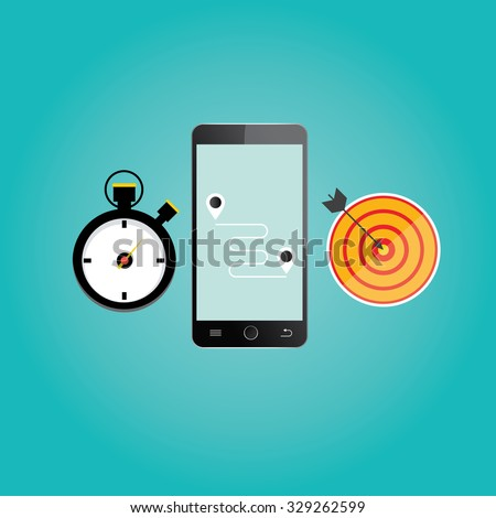 Modern vector illustration of mobile navigation. - stock vector