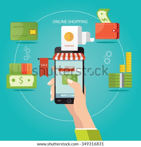 Modern vector illustration of online shopping, finance instrument - stock vector