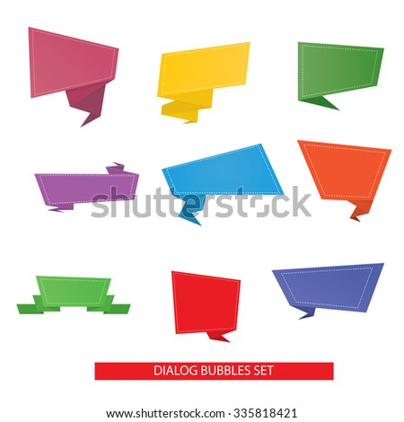 Modern vector illustration of origami speech bubble set - stock vector