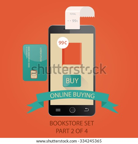 Modern vector illustration of payments by credit card. Online buying. Picture 2 of 4 - stock vector