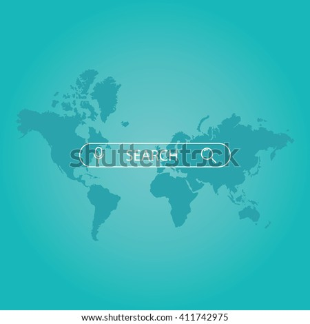 Modern vector illustration of search bar on a world map background. Search engine optimization. - stock vector