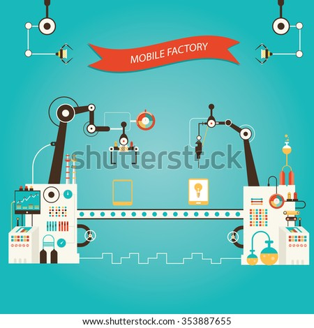 Modern vector illustration of tablet pc manufacturing