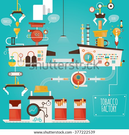 Modern vector illustration of tobacco factory, industry of tobacco, cigarettes manufacturing  - stock vector