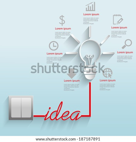 Modern vector illustration with a lamp and pictures for business, strategies, ideas, the concept of patterns for success. - stock vector