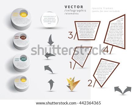 MODERN VECTOR INFOGRAPHIC ELEMENTS , METALLIC COLORS - stock vector