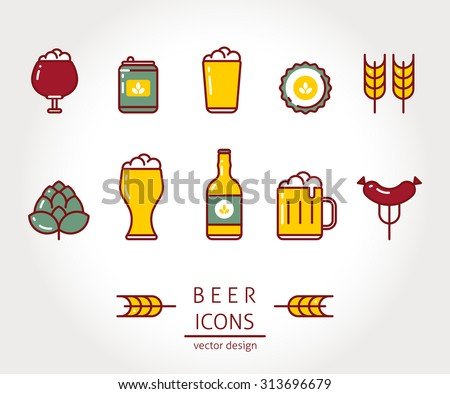 Modern vector isolated illustration beer icons set. Line style design. - stock vector