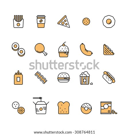 Modern vector isolated illustration fast food icons set. Tasty food, meals, confection. Line style vector - stock vector